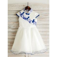 A-Line/Princess Knee-length Flower Girl Dress - Satin/Tulle/Brocade Short Sleeves Mandarin collar