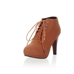 Leatherette Cone Heel Ankle Boots shoes