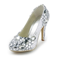 Women's Satin Cone Heel Closed Toe Platform Pumps With Rhinestone