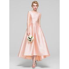 A-Line/Princess Scoop Neck Asymmetrical Satin Bridesmaid Dress