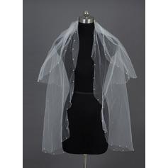 Two-tier Fingertip Bridal Veils With Cut Edge/Pearl Trim Edge