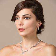 Sparking Zircon/Platinum Plated Ladies' Jewelry Sets