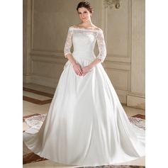 Ball-Gown Strapless Chapel Train Satin Wedding Dress