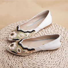 Women's Cloth Flat Heel Flats Closed Toe With Imitation Pearl shoes