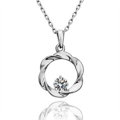 Flower Shaped Alloy/Zircon Ladies' Necklaces