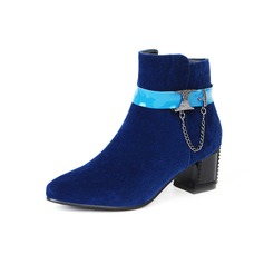 Women's Suede Chunky Heel Pumps Closed Toe Ankle Boots shoes