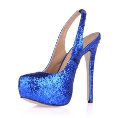 Sparkling Glitter Stiletto Heel Pumps Platform Closed Toe shoes