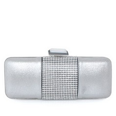 Elegant Silk/Stainless Steel With Crystal/ Rhinestone Clutches
