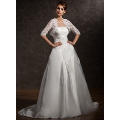 A-Line/Princess Strapless Court Train Satin Wedding Dress With Ruffle Lace Beading