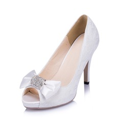 Women's Lace Stiletto Heel Peep Toe Pumps With Bowknot Rhinestone