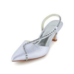 Women's Satin Cone Heel Closed Toe Sandals Slingbacks With Rhinestone