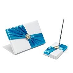 Elegante Satén La perla de faux/Diamantes de imitación Libro de visitas/sistema de la pluma