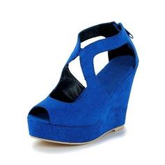 Suede Wedge Heel Sandals Pumps Peep Toe shoes