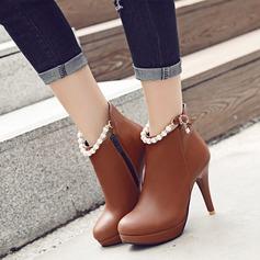 المرأة جلدي كعب ستيليتو مضخات منصة الأحذية مع لؤلؤة تقليد سحاب أحذية