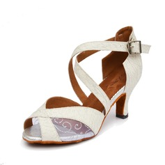 Women's Canvas Heels Latin With Buckle Dance Shoes