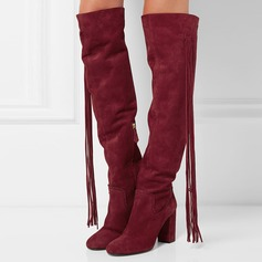 Women's Suede Chunky Heel Pumps Boots With Zipper Tassel shoes