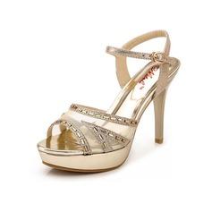 Kvinnor Äkta läder Stilettklack Sandaler Pumps Peep Toe Slingbacks med Strass Kristall Spänne skor