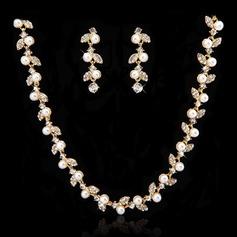 Glänzende Legierung mit Perle/Kristall Damen Schmuck Sets
