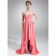 Empire Sweetheart Asymmetrical Chiffon Prom Dress With Beading