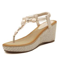 Kvinner Lær Kile Hæl Sandaler med Rhinestone sko
