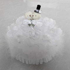 Music Box Ring Pillow With Teddy Bear White Feather