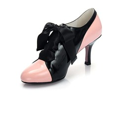 Real Leather Stiletto Heel Closed Toe Pumps Ankle Boots With Bowknot Lace-up (088020704)
