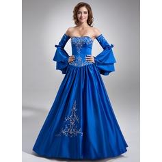 Duchesse-Linie Herzausschnitt Bodenlang Satin Quinceañera Kleid (Kleid für die Geburtstagsfeier) mit Bestickt Perlen verziert
