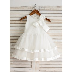 Ball Gown Knee-length Flower Girl Dress - Satin/Tulle Sleeveless Scoop Neck With Ruffles/Bow(s)
