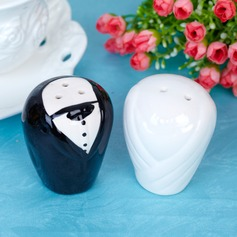 Bride & Groom Ceramic Salt & Pepper Shakers With Ribbons/Tag (Set of 2 pieces)