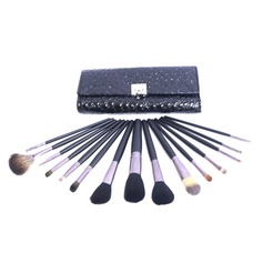 15 Pcs Makeup Brush Set With Black Crocodile Skin Pouch