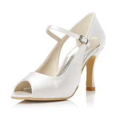 Women's Satin Stiletto Heel Peep Toe Pumps With Buckle