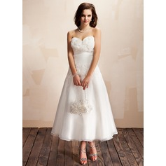 A-Line/Princess Sweetheart Ankle-Length Organza Wedding Dress With Ruffle Lace Flower(s)