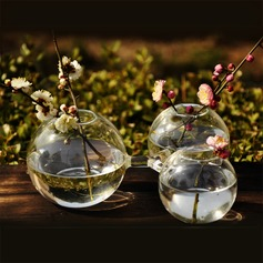 Beautiful Round Connected Glass Vases(Flowers Not Inlcude)