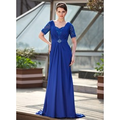 A-Line/Princess Sweetheart Sweep Train Chiffon Mother of the Bride Dress With Ruffle Beading Sequins