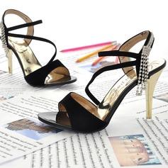 Velvet Stiletto Heel Sandals With Rhinestone shoes