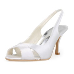 Women's Satin Stiletto Heel Peep Toe Sandals Slingbacks