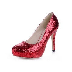 Sparkling Glitter Stiletto Heel Pumps Platform Closed Toe shoes (085038582)