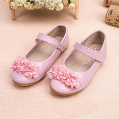 Girl's Leatherette Flat Heel Closed Toe Flats With Rhinestone Flower