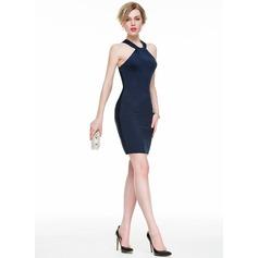 Sheath/Column Scoop Neck Short/Mini Jersey Cocktail Dress With Ruffle
