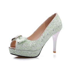 Sparkling Glitter Stiletto Heel Sandals Platform Peep Toe With Bowknot shoes