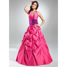 Corte de baile Cabestro Hasta el suelo Tafetán Vestido de quinceañera con Volantes Fajas