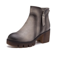 Women's Leatherette Chunky Heel Boots Ankle Boots Martin Boots With Zipper shoes