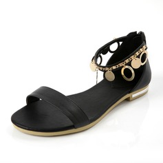 Leatherette Flat Heel Sandals Flats With Zipper Chain