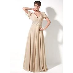 A-Line/Princess V-neck Floor-Length Chiffon Mother of the Bride Dress With Beading Cascading Ruffles