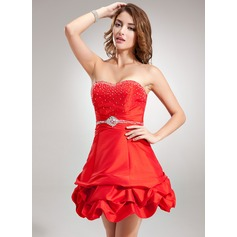 A-Line/Princess Sweetheart Short/Mini Taffeta Homecoming Dress With Ruffle Beading Sequins