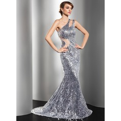 Trumpet/Mermaid One-Shoulder Sweep Train Tulle Sequined Evening Dress