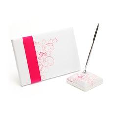 Elegant Satin Sash Guestbook/Pen Set