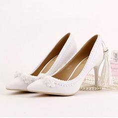 Women's Leatherette Stiletto Heel Closed Toe Pumps With Imitation Pearl Tassel