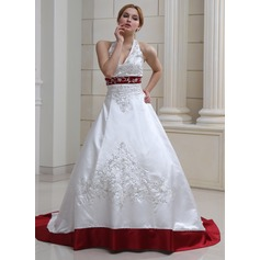 Ball-Gown Halter Court Train Satin Wedding Dress With Embroidered Beading Sequins