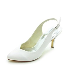 Satin Stiletto Heel Closed Toe Slingbacks Pumps Wedding Shoes With Buckle (047017779)